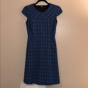 J. Crew Blue and Black Patterned Cap Sleeve Dress